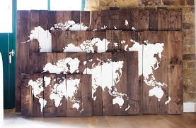 World Map Wood Wall Art by Rustic Reclaimed Wood Sign World Map Pacific Ocean Centered
