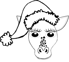 giraffe 1 face santa hat black white line art christmas xmas
