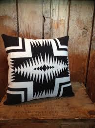 native american blanket throw pillow pendleton wool fabric black
