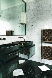 Art Deco Bathroom by Art Deco Bathroom With Marble Walls And Black Wall Mounted Vanity
