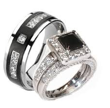 black wedding band sets ring set mm black tungsten diamond wedding band him in