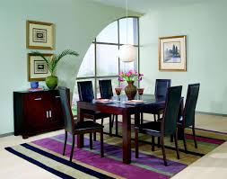 cappuccino finish contemporary dining room w black glass top