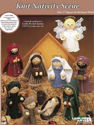 knitting pattern for nativity scene set includes 9 figures baby