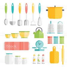 kitchen utensils in flat style design cooking kitchenware icons