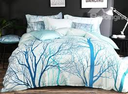 Brocade Duvet Cover Designer 60s Brocade Trees And Branches Painting Pastoral Blue