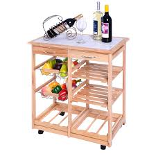 costway rolling wood kitchen trolley cart dining storage drawers