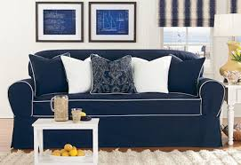 Dark Blue Loveseat Sure Fit Monaco One Piece Loveseat Slipcover Midnight Blue White