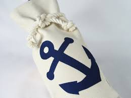 Items Similar To Nautical Anchor - wine bag blue anchor canvas marine rope knot nautical hostess
