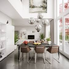 Modern Dining Room Buffet Living Room 4 White Chandelier Brown Dining Table Brown Dining