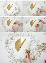 diy gold confetti pyramid ornaments