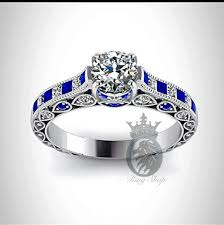 doctor who engagement ring doctor who inspired 4 5cts sapphire diamond engagement ring by