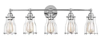 rustic vanity lights chrome edison nautical 5 light cage vanity