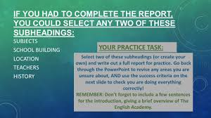 how to write a paper with subheadings how to write a formal report ppt download if you had to complete the report you could select any two of these subheadings