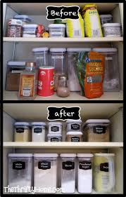 kitchen cupboard organization with oxo containers and faux chalk
