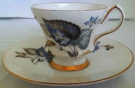 royal gregg bone china tea cup and saucer england leaves blue