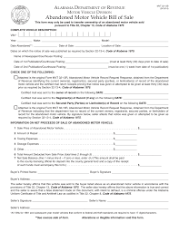 Free Bill Of Sale For Vehicle by Alabama Abandoned Motor Vehicle Bill Of Sale Form Mvt 32 13b
