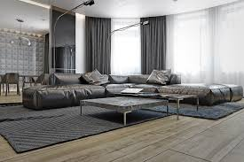 masculine sofas carved walls dark design ideas soft shag carpet cozy leather