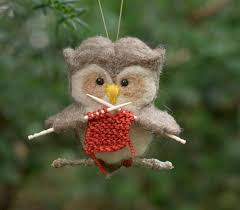 needle felted owl ornament knitting