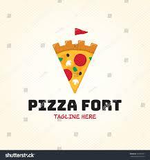 pizza fort logo design template vector stock vector 723595651