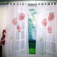 voile sheer yellow purple and pink tulip print floral sitting room