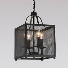 Square Chandelier Industrial Pendant Chandelier 4 Light With Square Mesh Cage In