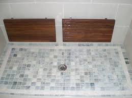 ipe fold down shower bench spaces contemporary with gray shower