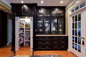 furniture brown kitchen cabinets with modern refrigerator and
