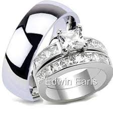stainless steel wedding ring sets his and hers wedding rings top quality ring set stainless steel