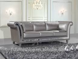 Silver Leather Sofa by Jr325 Modern Contemporary Silver Grey Color Genuine Thick Leather