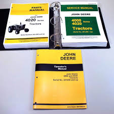 set john deere 4020 4000 tractor technical service manual parts
