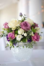 Purple Wedding Bouquets Arrangement Of White Pink And Purple Wedding Flowers Stock Photo