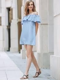 short sleeve off the shoulder solid color dress light blue