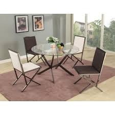 Designer Glass Dining Tables Beveled Edge Modern Glass Dining Table With Four Chairs