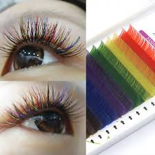 individual extensions individual multi colored eyelash extensions rainbow color lashes 8