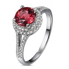 diamond red rings images 1 carat round cut red ruby and diamond halo engagement ring in jpg