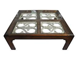 Henredon Coffee Table by Henredon Wood Coffee Table With Glass Top The Local Vault