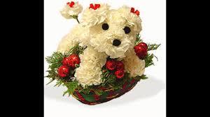dog flower arrangement puppy basket arrangement