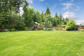 summer fenced backyard with play ground area and trees and large