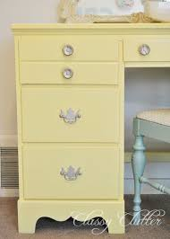 Contact Paper Desk Makeover Yellow Sewing Desk Makeover Classy Clutter