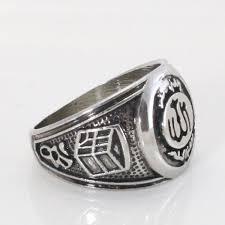 silver ring for men islam antique silver plating muslim allah ring for men women charm