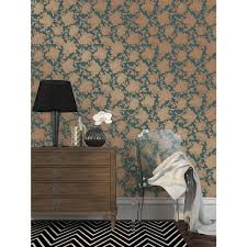 silhouette self adhesive wallpaper in peacock blue u0026 gold design