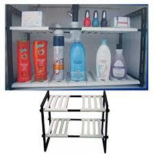 easy home expandable under sink shelf amazon com 2 tier expandable adjustable under sink shelf organizer