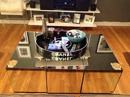 Coffee Table Trays by Mirrored Coffee Table With Chanel Tray Hollywood Regency Glam