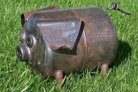 scrap metal yard garden pot belly pig by ricksmetalworks