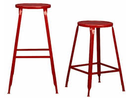 Cb2 Bar Stools Furniture Industrial Red Metal Stools Remodelista