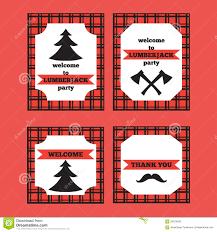 Printable Invitation Card Stock Printable Set Of Vintage Lumberjack Invitation And Welcome Cards