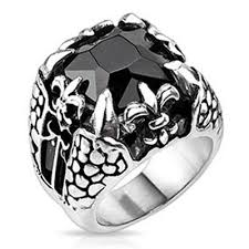 stainless steel mens rings dragonstone large square cut onyx gem claw fleur de lis