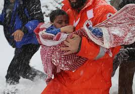 pictures syrian refugees freezing death snow
