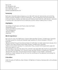 Sample Resumes For Lawyers by Professional Bankruptcy Specialist Templates To Showcase Your