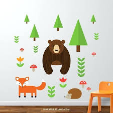 Animal Wall Decals For Nursery Animal Wall Decals Woodland Animals Wall Decal With Fox And